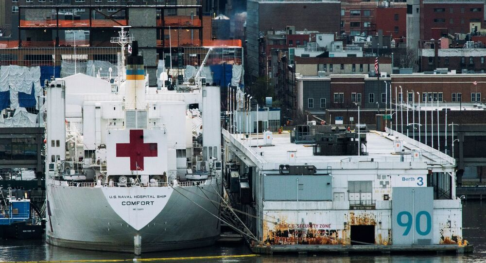 The USNS hospital ship Comfort is seen docked at Pier 90 on Manhattan's West Side as the outbreak of the coronavirus disease (COVID-19) continues in New York City, New York, U.S., April 7, 2020