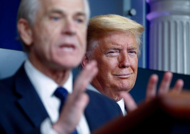 U.S. President Donald Trump listens as White House Director of Trade and Marketing Policy Peter Navarro addresses the daily coronavirus response briefing at the White House in Washington, U.S., April 2, 2020