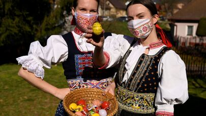 Coloured Eggs and Chocolate Bunnies Ready for Easter Amid COVID-19 Pandemic