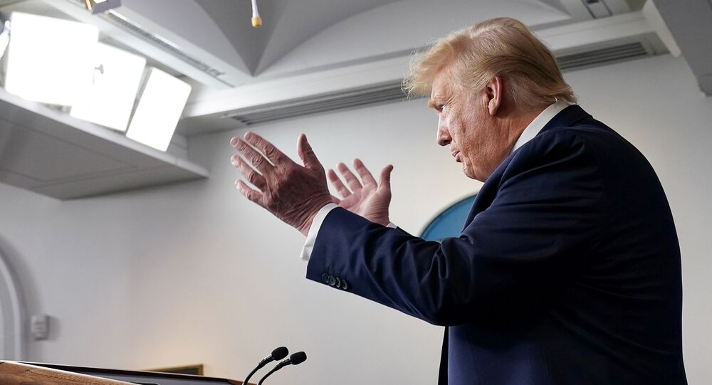 U.S. President Donald Trump addresses the daily coronavirus task force briefing at the White House in Washington, U.S., April 7, 2020