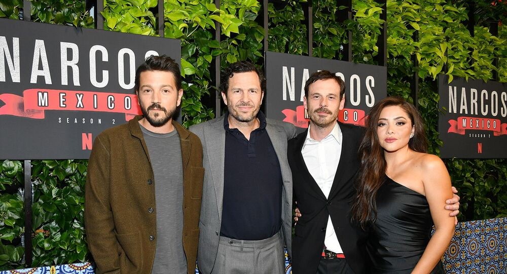 Diego Luna (far left, who plays Felix Gallardo) attending the premiere of Season Two of Netflix's Narcos Mexico in February 2020.