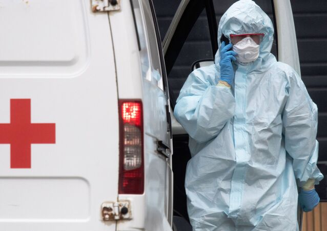 Paramedic near a hospital for patients with suspected coronavirus infection in Kommunarka, Moscow, Russia.