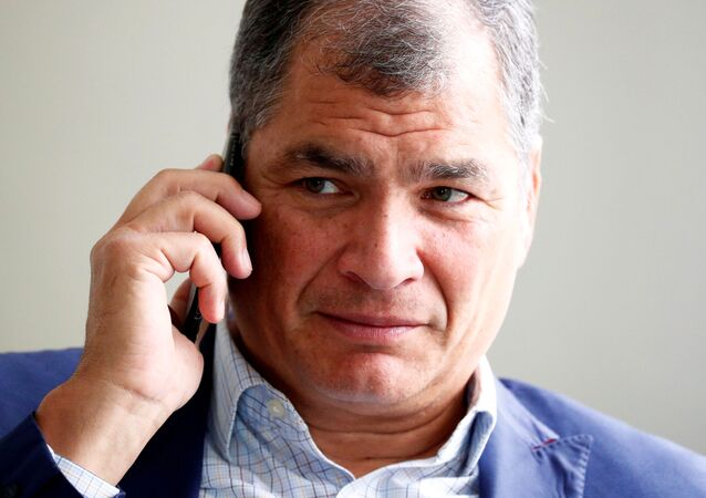 Ecuador's former president Correa is pictured ahead of an interview with Reuters in Brussels