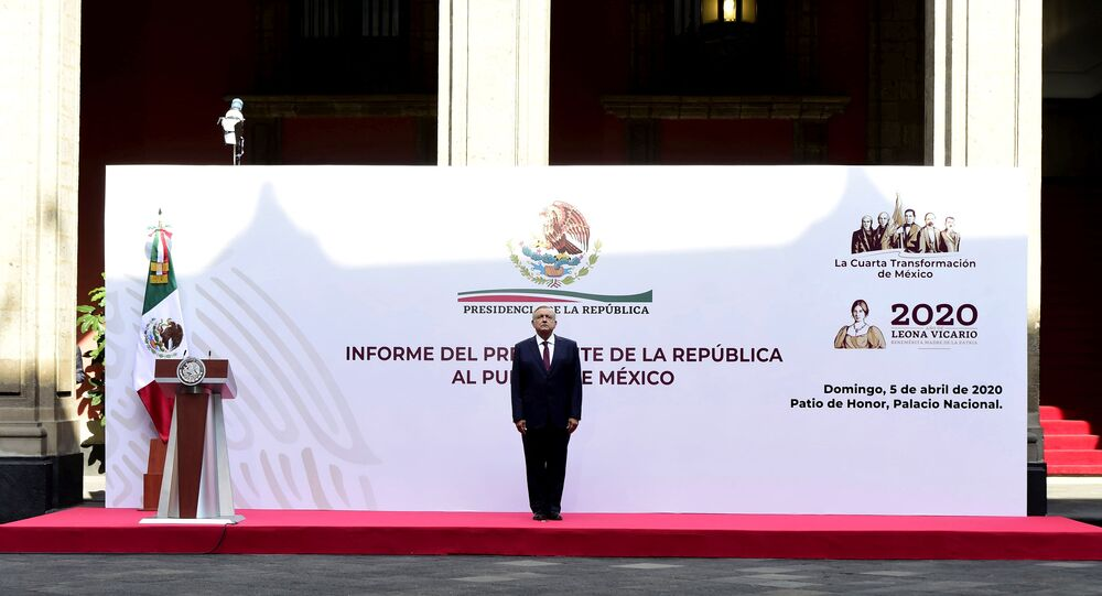 Mexico's President Andres Manuel Lopez Obrador sings the national anthem before the presentation of a plan to lift the economy out of the coronavirus crisis, at the National Palace in Mexico City, Mexico April 5, 2020