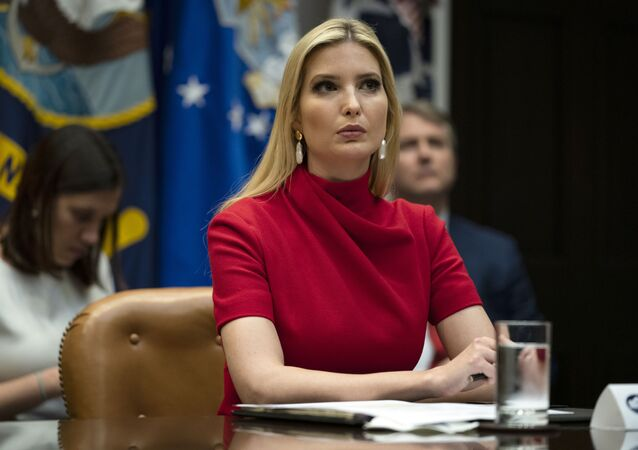 Ivanka Trump listens as President Donald Trump speaks during a conference call with banks on efforts to help small businesses during the coronavirus pandemic, at the White House, Tuesday, 7 April 2020, in Washington