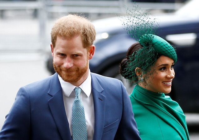 Britain's Prince Harry and Meghan, Duchess of Sussex, arrive for the annual Commonwealth Service at Westminster Abbey in London, Britain 9 March 2020