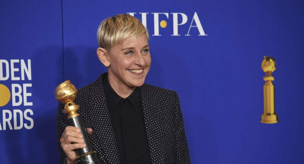 In a Sunday, Jan. 5, 2020 file photo, Ellen DeGeneres, winner of the Carol Burnett award, poses in the press room at the 77th annual Golden Globe Awards at the Beverly Hilton Hotel, in Beverly Hills, Calif.