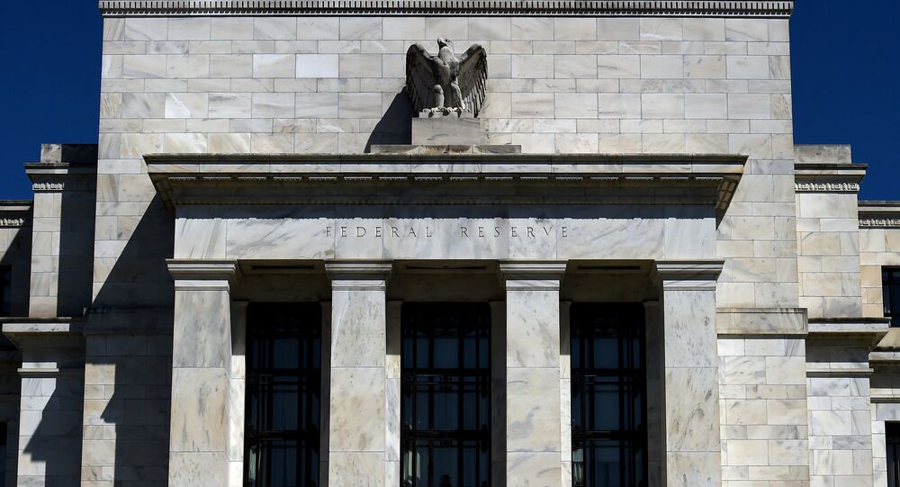 In this file photo taken on April 02, 2020, the Federal Reserve building in Washington, DC.