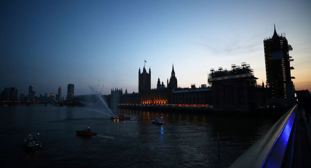 General view from Westminster bridge during the Clap for our Carers campaign in support of the NHS as the spread of the coronavirus disease (COVID-19) continues, London, Britain, April 9, 2020.