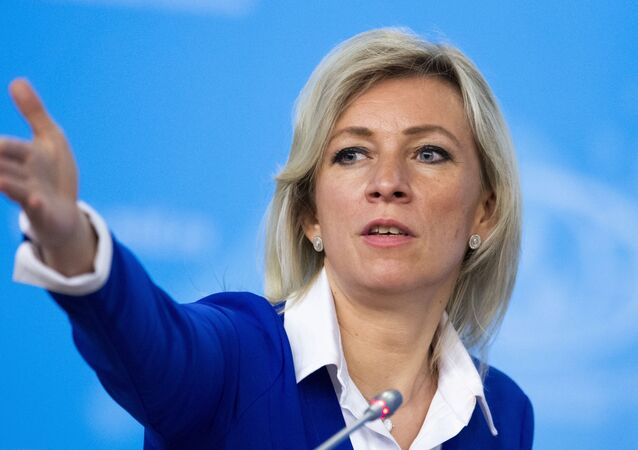 Russian Foreign Ministry spokesperson Maria Zakharova gestures as she attends Russian Foreign Minister Sergey Lavrov's annual roundup news conference summing up his ministry's work in 2019, in Moscow, Russia, Friday, Jan. 17, 2020.