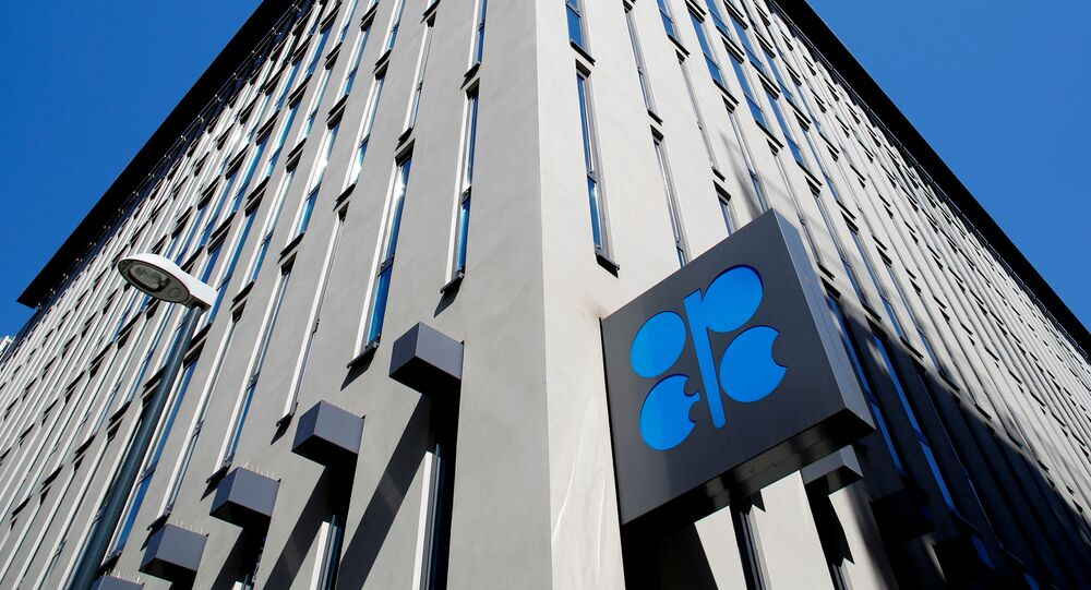 The logo of the Organization of the Petroleoum Exporting Countries (OPEC) is seen outside of OPEC's headquarters in Vienna, Austria April 9, 2020.