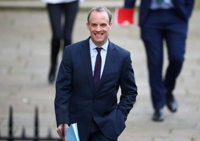 Britain's Secretary of State for Foreign affairs Dominic Raab arrives in Downing Street as the spread of the coronavirus disease (COVID-19) continues, London, Britain, April 8, 2020.