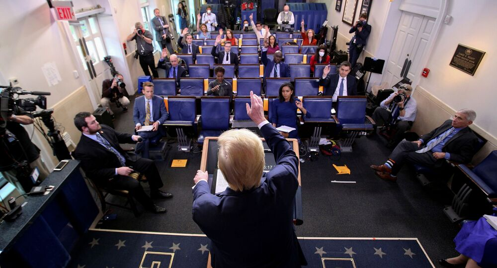 U.S. President Donald Trump addresses the daily coronavirus task force briefing at the White House in Washington, U.S., April 8, 2020