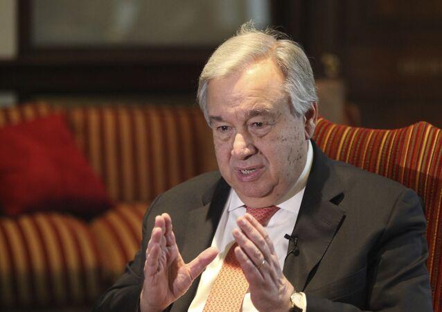U.N. Secretary General Antonio Guterres speaks to The Associated Press in Lahore, Pakistan, Tuesday, Feb. 18, 2020.