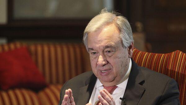 U.N. Secretary General Antonio Guterres speaks to The Associated Press in Lahore, Pakistan, Tuesday, Feb. 18, 2020. - Sputnik International