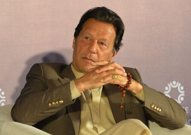 Pakistan's Prime Minister Imran Khan attends the Refugee Summit Islamabad to mark 40 years of hosting Afghan refugee in Islamabad on February 17, 2020