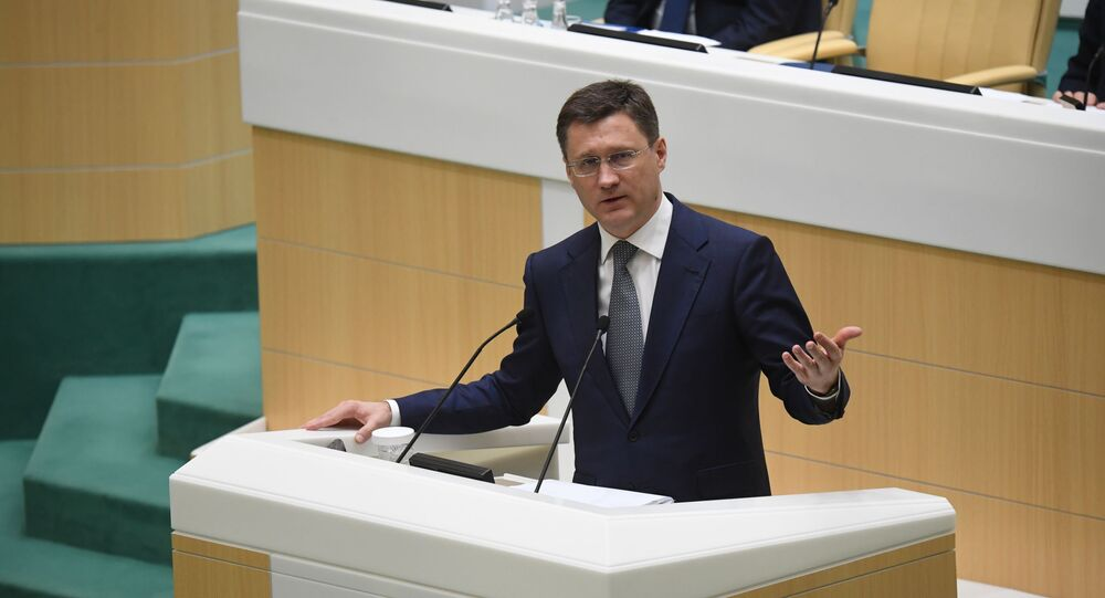 Russian Energy Minister Alexander Novak speaks during the meeting of the Federation Council of Russia, 11 March 2020