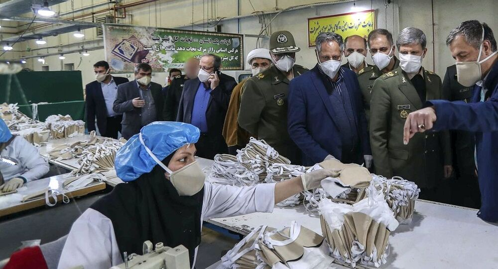 Iranian Minister of Defence Brigadier General Amir Hatami opens production line for protective face masks with ionized filtering technology. 09.04.2020.