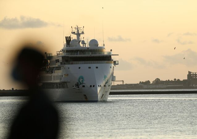 Australian cruise ship Greg Mortimer arrives at the port in Montevideo, Uruguay April 10, 2020 before its 112 Australian and New Zealander passengers be repatriated back to Australia during the coronavirus disease (COVID-19) outbreak