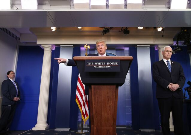 U.S. President Donald Trump answers a question during the coronavirus response daily briefing with Vice President Mike Pence at his side at the White House in Washington, U.S., April 10, 2020