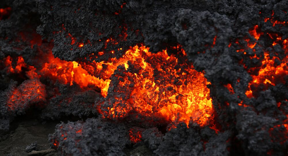 A close up of lava from an eruption on Holuhraun, northwest of the Dyngjujoekull glacier in Iceland, Monday, Sept. 1, 2014.  Lava fountains danced along a lengthy volcanic fissure near Iceland's subglacial Bardarbunga volcano Sunday, prompting authorities to raise the aviation warning code to the highest level and close the surrounding airspace. The warning was lowered 12 hours later as visibility improved and it was clear that no volcanic ash was detected.