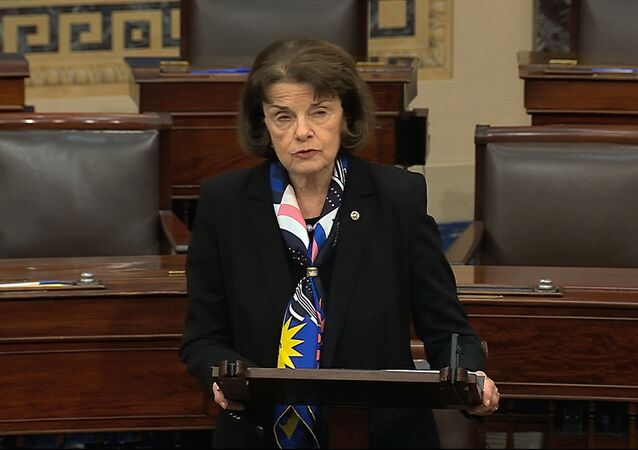 In this image from video, Sen. Dianne Feinstein, D-Calif., speaks on the Senate floor about the impeachment trial against President Donald Trump at the U.S. Capitol in Washington, Tuesday, Feb. 4, 2020.