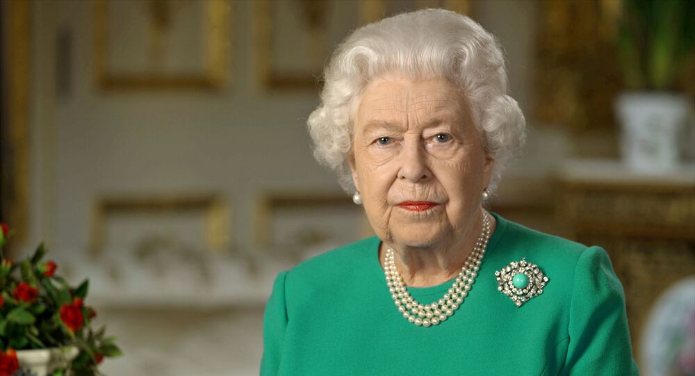 Buckingham Palace handout image of Britain's Queen Elizabeth during her address to the nation and the Commonwealth in relation to the coronavirus epidemic (COVID-19), recorded at Windsor Castle, Britain April 5, 2020