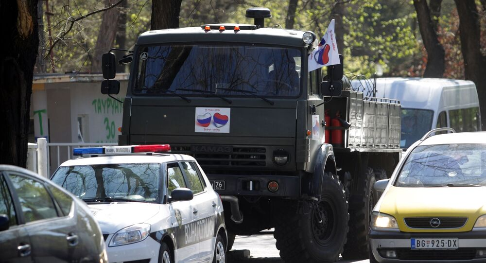 A truck carrying Russian military specialists to the Zemun Medical Centre in Belgrade