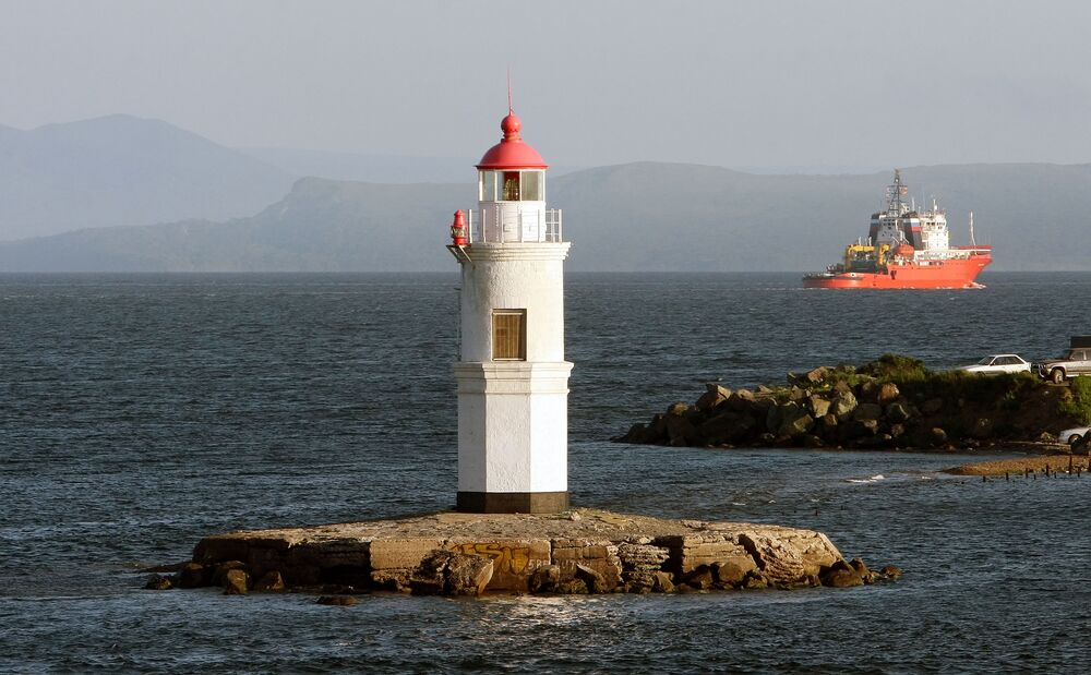 Tokarevsky Lighthouse in Russia's Amur Bay. The Tokarevsky lighthouse is of crucial importance in ensuring the navigational safety of ships sailing to the port of Vladivostok from the bay.