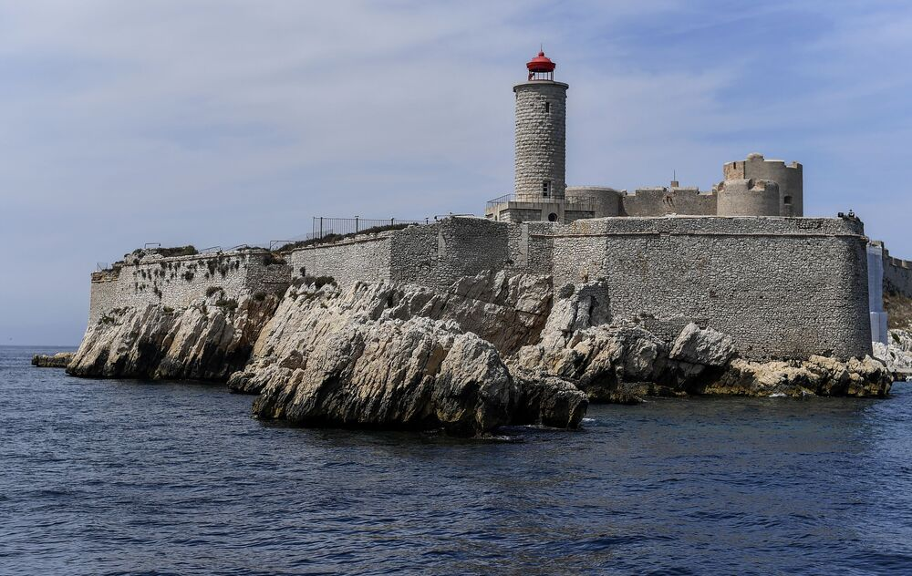 View of the castle of Ife in France. If Castle is a fortress located on the smallest island in the Frioul archipelago situated in the Mediterranean Sea about 1.5 kilometres offshore in southeastern France.