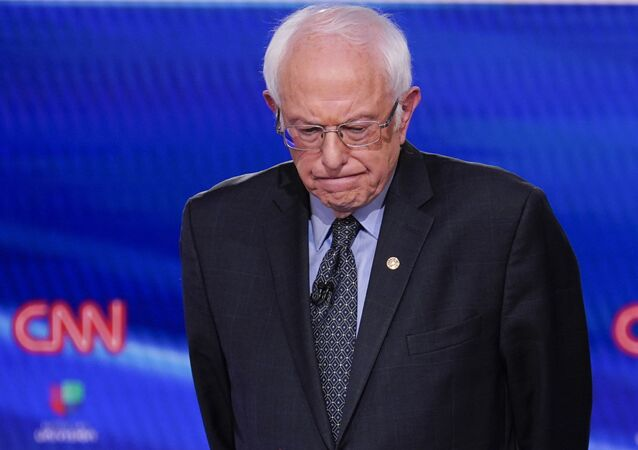 Sen. Bernie Sanders, I-Vt., participates in a Democratic presidential primary debate at CNN Studios in Washington, Sunday, March 15, 2020