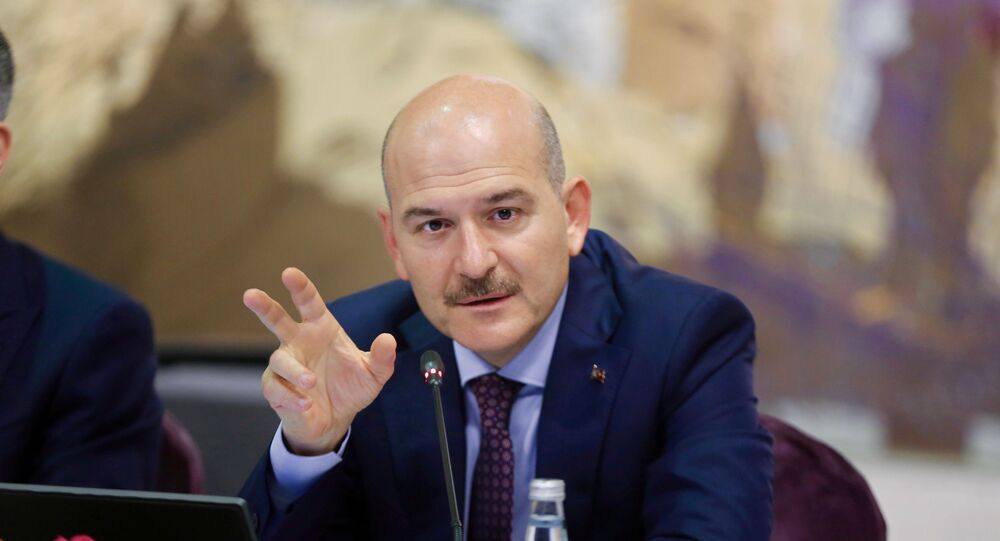 Turkish Interior Minister Suleyman Soylu speaks during a news conference for foreign media correspondents in Istanbul, Turkey, August 21, 2019