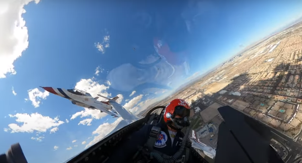Screenshot of the US Air Force Thunderbirds Vegas Flyover Video, 11 Aprin 2020