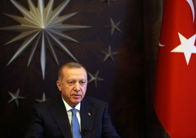 Turkish President Tayyip Erdogan attends a videoconference with G20 leaders to discuss the coronavirus disease (COVID-19) outbreak, at Huber Mansion in Istanbul, Turkey, March 26, 2020