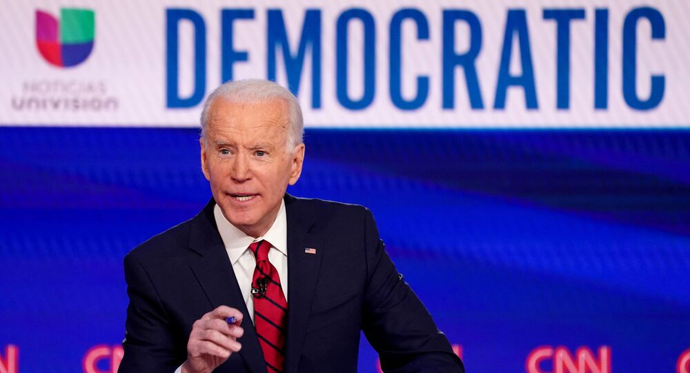 Democratic U.S. presidential candidate and former Vice President Joe Biden speaks during the 11th Democratic candidates debate of the 2020 U.S. presidential campaign, held in CNN's Washington studios without an audience because of the global coronavirus pandemic, in Washington, U.S., March 15, 2020