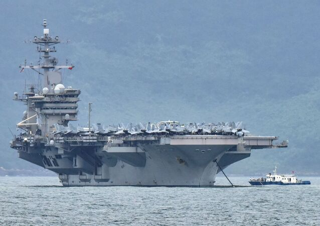 The USS Theodore Roosevelt (CVN-71) is pictured as it enters the port in Da Nang, Vietnam, March 5, 2020