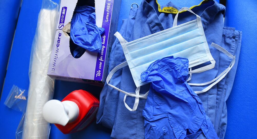 Level 1 Personal Protective Equipment (PPE) is seen at the Hospital for Tropical Diseases, as the number of coronavirus disease (COVID-19) cases grow around the world, in London, Britain April 1, 2020. Picture taken April 1, 2020.
