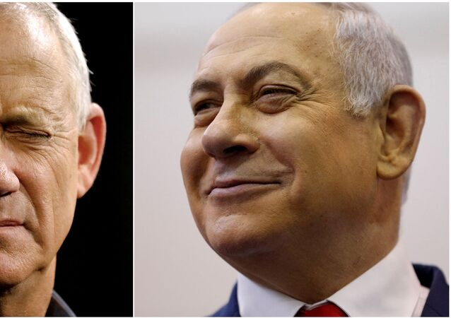 A combination picture shows Benny Gantz (left), leader of Blue and White party, at an election campaign event in Ashkelon, Israel, April 3, 2019, and Israeli Prime Minister Benjamin Netanyahu smiling at a polling station in Jerusalem, April 9, 2019