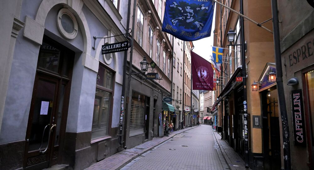 Closed shops and restaurants, and the deserted of people Vasterlanggatan street are seen, amid the spread of the coronavirus disease (COVID-19) spread, in the Old Town in Stockholm, Sweden April 7, 2020