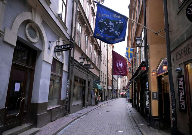 Closed shops and restaurants, and the deserted of people Vasterlanggatan street are seen, amid the spread of the coronavirus disease (COVID-19) spread, in the Old Town in Stockholm, Sweden, 7 April 2020
