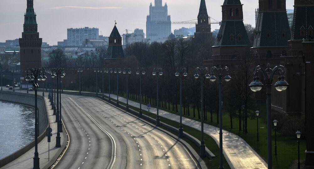 View of the Kremlin embankment from the Bolshoi Moskvoretsky bridge.