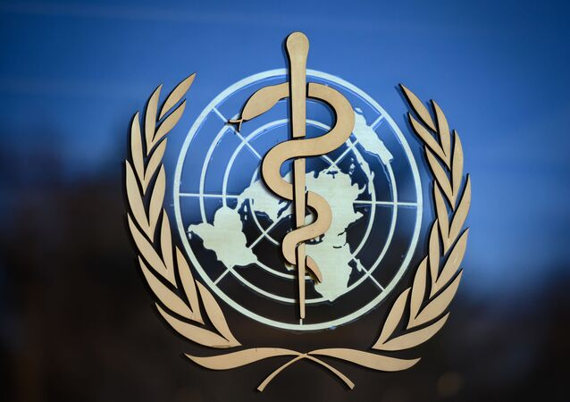 In this file photo taken on 24 February 2020, A photo shows the logo of the World Health Organization (WHO) at their headquarters in Geneva.