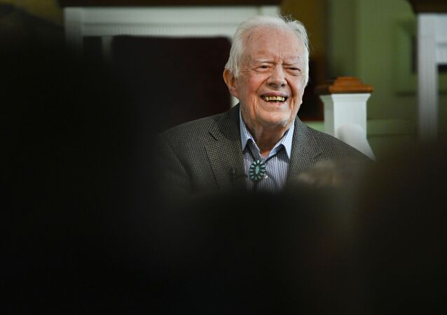 Former U.S. President Jimmy Carter teaches Sunday school at Maranatha Baptist Church, Sunday, Nov. 3, 2019, in Plains, Ga.