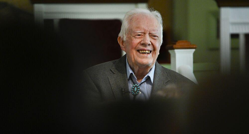 Former U.S. President Jimmy Carter teaches Sunday school at Maranatha Baptist Church, Sunday, Nov. 3, 2019, in Plains, Ga.