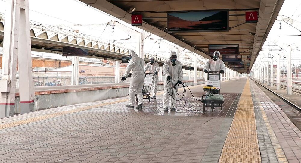 EMERCOM of Russia employees disinfected the Leningrad station in Moscow