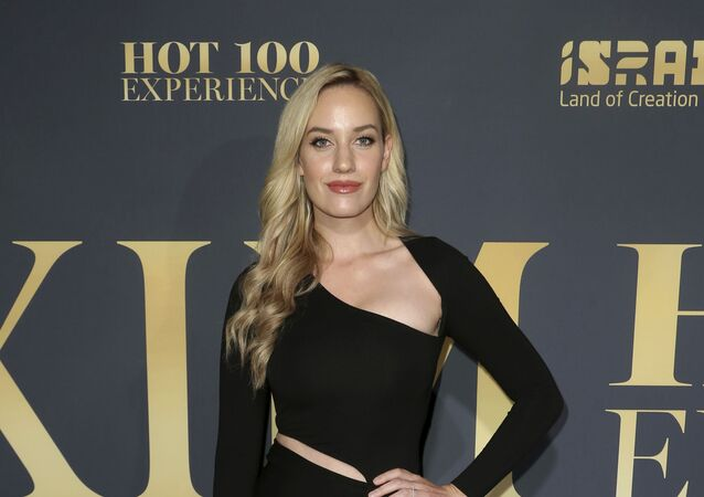 Paige Spiranac arrives at the 2018 Maxim Hot 100 Experience at the Hollywood Palladium on Saturday, July 21, 2018, in Los Angeles