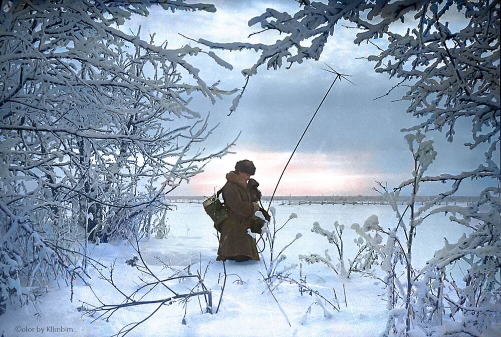 Setting up communication lines on the frontline, 1941.