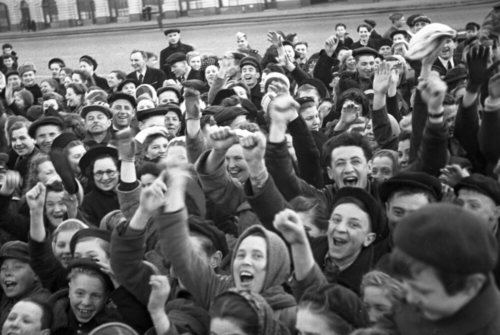 People celebrate victory of the Soviet Union over Nazi Germany in the Great Patriotic War (1941-1945)