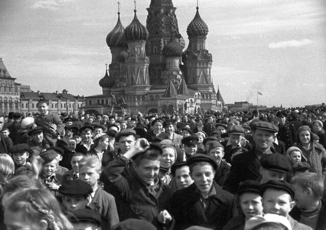 Crowds on Red Square celebrate the Soviet Union's victory over Nazi Germany in Great Patriotic War (1941-1945)