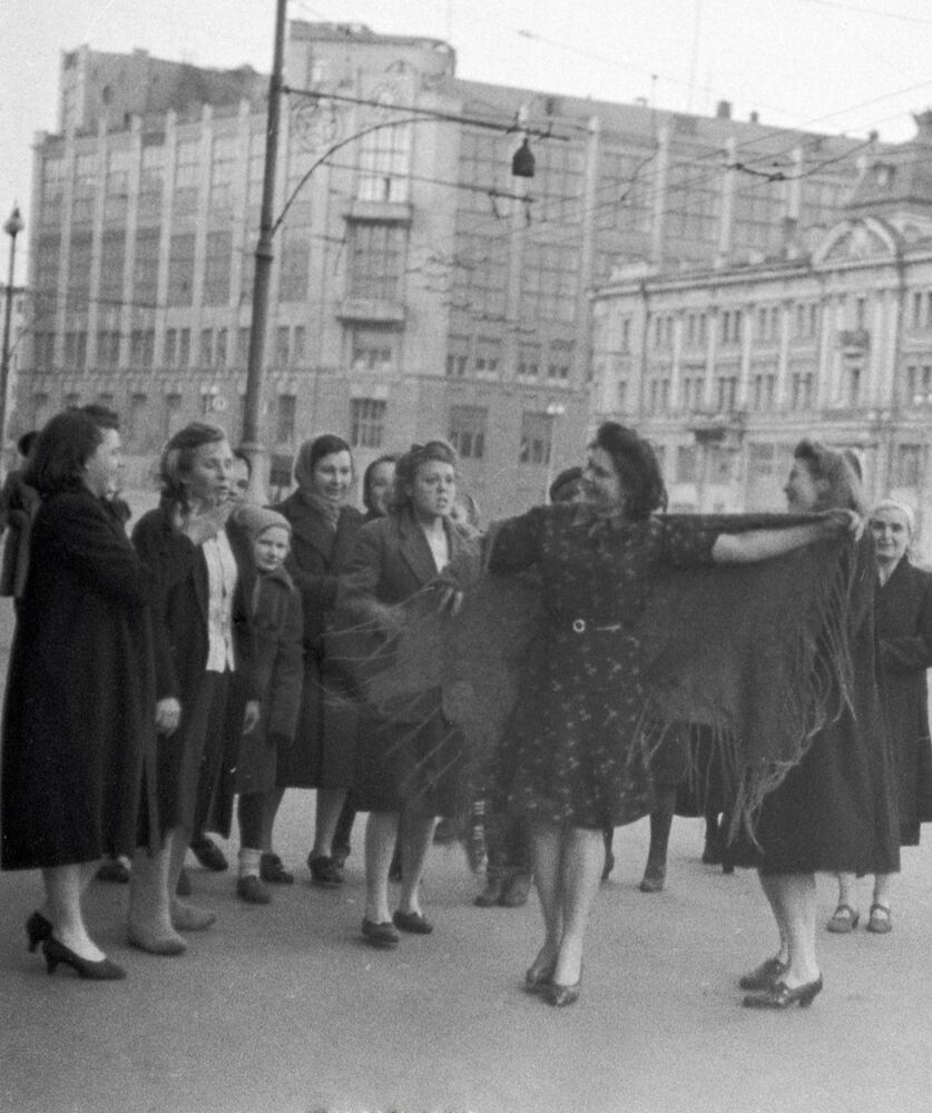 Women dance during Victory Day celebrations in Moscow on 9 May 1945